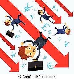 graphique financier, diagramme, bas, hommes affaires, flèche, automne, crise, rouges