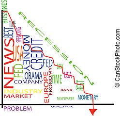graphique, financier, récession