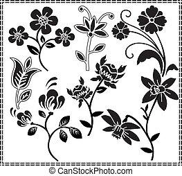 graphique, fleurs, conception