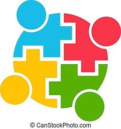 graphique, gens, illustration, vecteur, collaboration, communauté, logo.