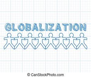 graphique, globalisation, gens papier