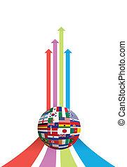 graphique, globe, drapeau, business, flèche