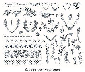 graphique, grand, mettez stylique, éléments floraux