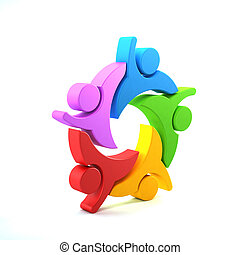 graphique, groupe, gens, illustration, rendre, collaboration, 3d, design.