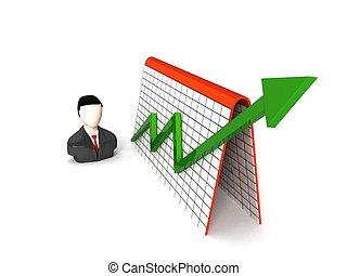 graphique, homme affaires, dimensionnel, profit, trois