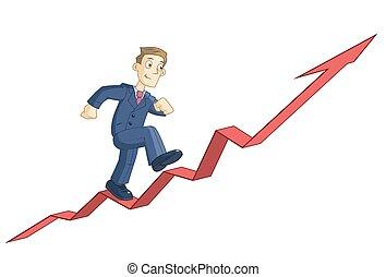 graphique, homme affaires, haut, business, escalade