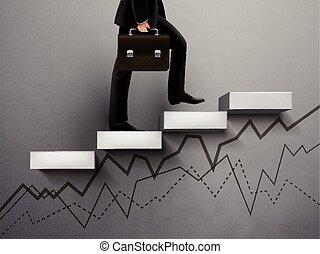 graphique, homme affaires, monter, ligne
