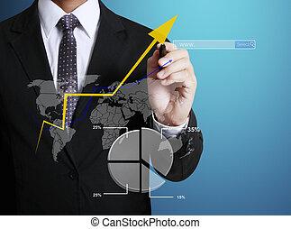 graphique, homme, dessin, business, main