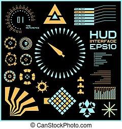 graphique, hud., résumé, virtuel, toucher, vecteur, interface utilisateur