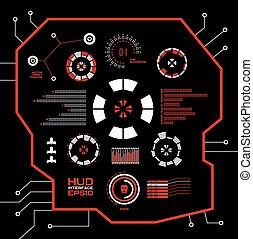 graphique, hud., résumé, virtuel, toucher, vecteur, interface utilisateur, rouges