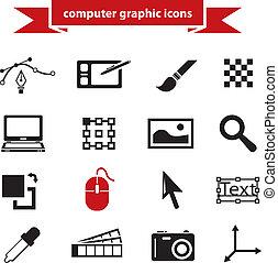 graphique, icônes ordinateur