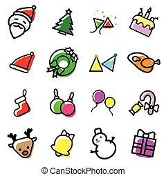 graphique, illustrateur, coloré, icônes, collection, mettez stylique, fond, noël blanc