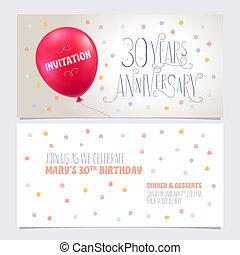 graphique, illustration., 30, anniversaire, années, vecteur, concevoir élément, inviter