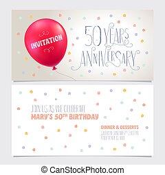 graphique, illustration., 50, anniversaire, vecteur, conception, années, élément, inviter