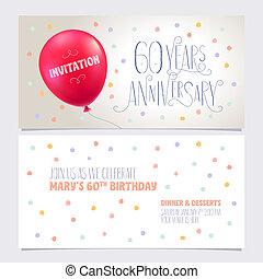 graphique, illustration., anniversaire, années, 60, vecteur, concevoir élément, inviter