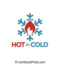 graphique, illustration, chaud, vecteur, conception, gabarit, logo, froid