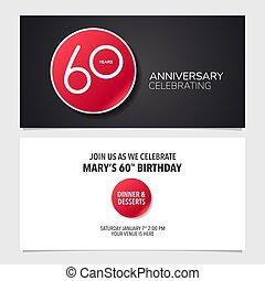graphique, illustration., double, pris parti, anniversaire, années, 60, vecteur, conception, gabarit, invitation, carte