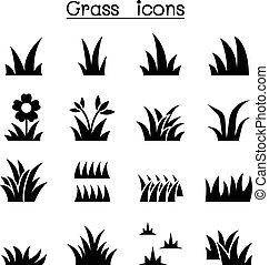 graphique, illustration, mettez stylique, herbe, icône