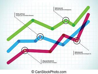 graphique, indicateurs, lignes, rond, entrecouper