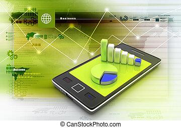 graphique, intelligent, téléphone