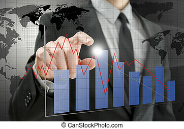 graphique, interactif, pointage, homme affaires