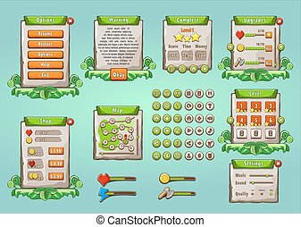 graphique, interface utilisateur, ensemble, dans, naturel, style.