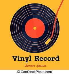graphique, jaune, enregistrement, vecteur, musique, vinyle, fond