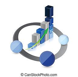 graphique, lien, diagramme, business