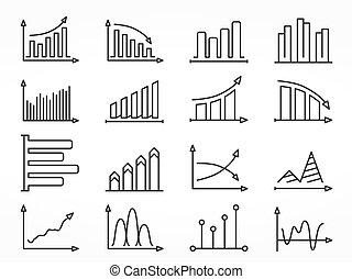 graphique, ligne, ensemble, icônes