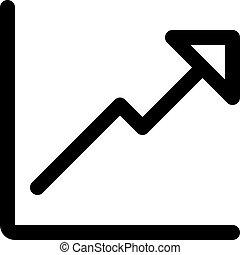 graphique, ligne, uptrend