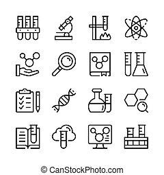 graphique, linéaire, icônes, simple, collection., set., moderne, vecteur, conception, concepts, ligne, chimie, éléments, contour