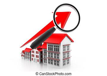 graphique, logement, analyser, marché