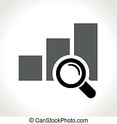 graphique, loupe, icône