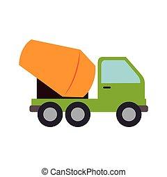 graphique, mélangeur, béton, vecteur, camion, ciment, icône