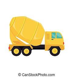 graphique, mélangeur, béton, vecteur, camion, icône