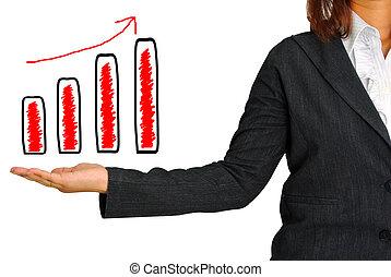 graphique, main, femmes affaires