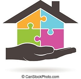 graphique, maison, morceaux puzzle, vecteur, conception, logo.