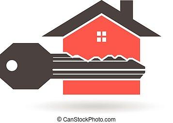 graphique, maison, vecteur, conception, clã©, confection, logo., ton