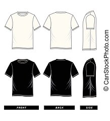 graphique, manche, côté, dos, court, devant, t-shirts