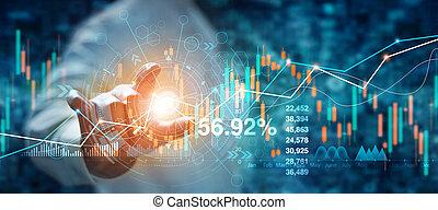 graphique, marché, analysis., financier, main, stockage, homme affaires, croissance, forex, données, arrière-plan., bleu, toucher, interface