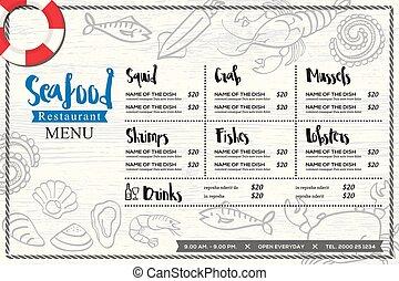 graphique, menu restaurant, fruits mer, placemat, main, vecteur, conception, gabarit, dessiné