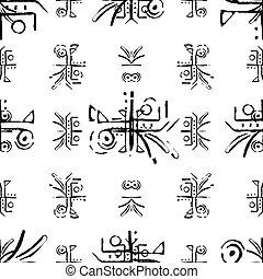 graphique, modèle, seamless, symboles, conception, ethnique