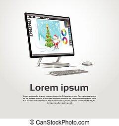 graphique, moderne, concepteur, ordinateur bureau, lieu travail