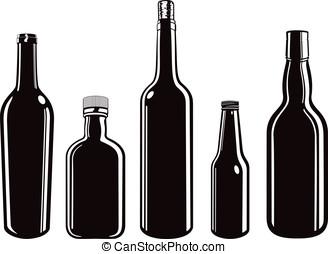 graphique, noir, bouteille, vecteur, verre, récipients, ensemble, illustration, blanc, dessin animé