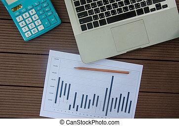 graphique, ordinateur portable, business
