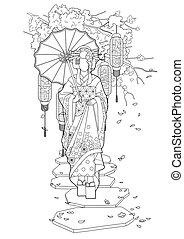graphique, parapluie, geisha