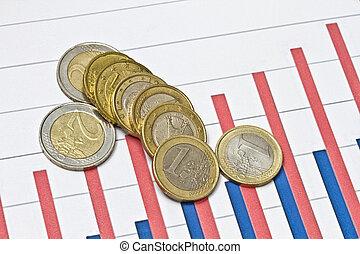 graphique, pièces, euro, business