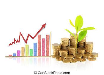 graphique, pièces, financier