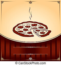 graphique, pizza., texte, illustration, chaud, vecteur, endroit