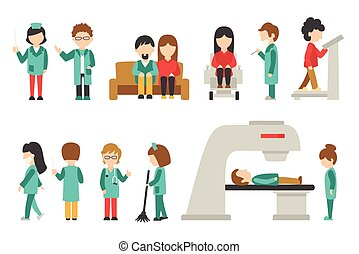 graphique, plat, gens, docteur, illustration médicale, editable, isolé, fond, vecteur, conception, infirmière, soin, blanc, ton, personnel